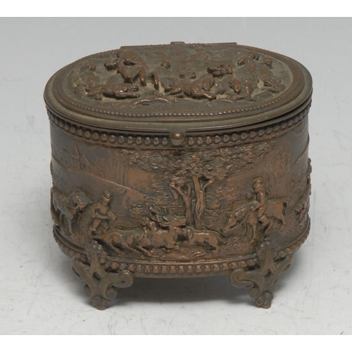 3029 - A 19th century electrotype oval casket, in relief with hunting scenes, hinged cover, cartouche shape...