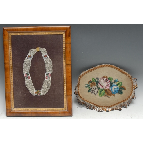 3006 - A 19th century beadwork choker necklace, worked in polychrome with panels of butterflies, roses and ...