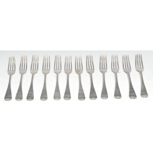 21 - A set of twelve William IV Old English pattern dessert forks, Samuel Hayne & Dudley Cater, London 18...