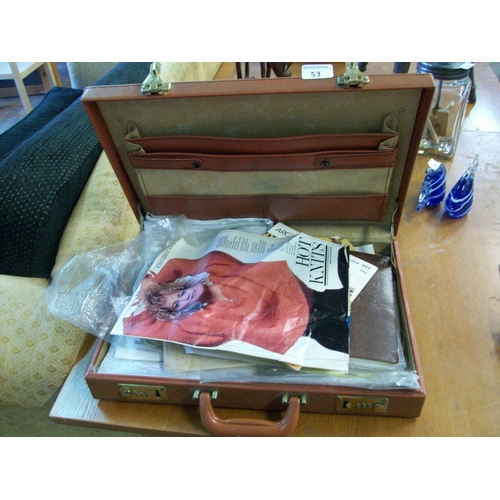 53 - Leather Briefcase Containing Sewing Accessories...