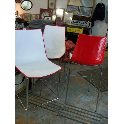 24 - 3 High Back Kitchen Stools...
