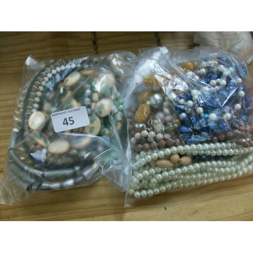 45 - 2 Bags of Costume Jewellery...