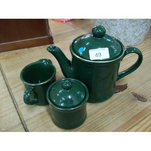 49 - Teapot, Milk Jug & Sugar Bowl...