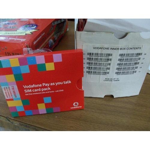 Box of Vodafone Sim Card Packs