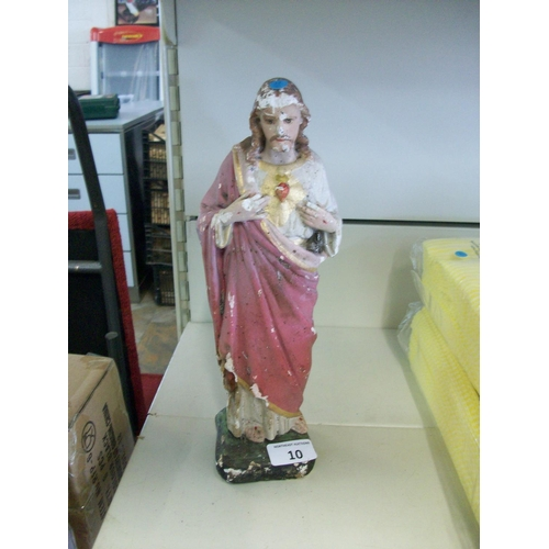 10 - Old Chalk Religious Statue...