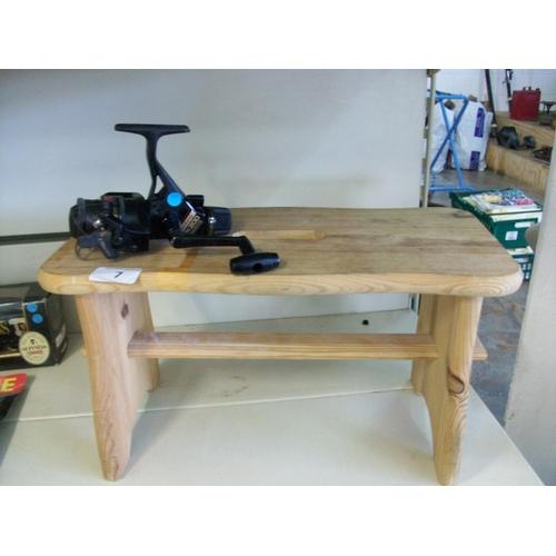 7 - Fishing Reel & Wooden Stool...