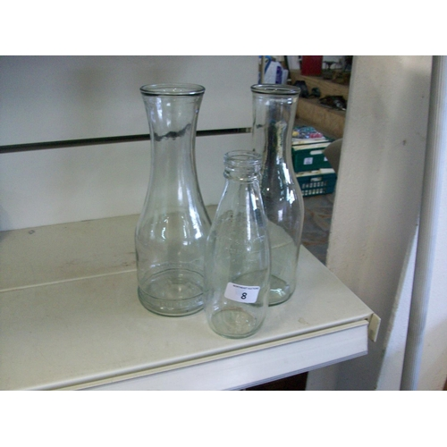 8 - 3 Vintage Bottles (including Paul Masson Carafe & P.M.B.A. Milk Bottle)...