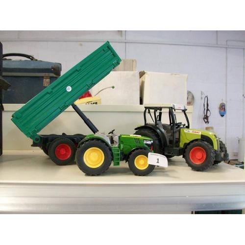 1 - Die Cast John Deere Tractor & Other Tractor with Trailer...