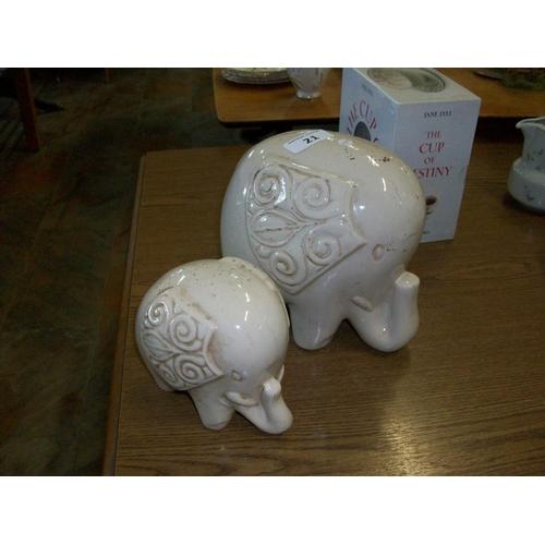 21 - 2 Porcelain Elephants...