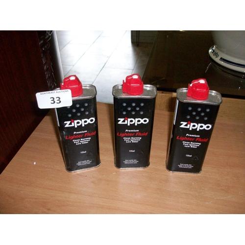 33 - 3 Cans of Zippo Lighter Fluid...