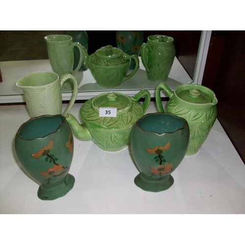 35 - Selection of Green Kitchen Items...