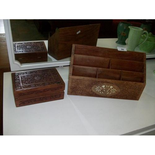 36 - Wooden Letter Rack & Vintage Wooden Box...