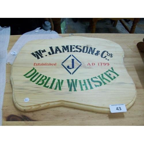 43 - Wooden W. Jameson Whiskey Plaque...