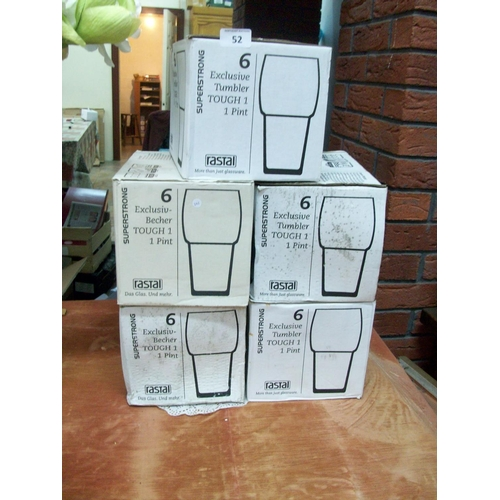 52 - 5 Boxes of New Pint Glasses (6/box)...