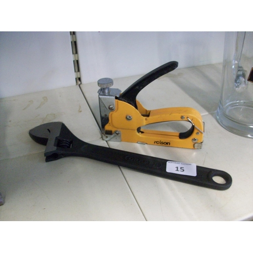 15 - Shifting Spanner and Heavy Duty Stapler...