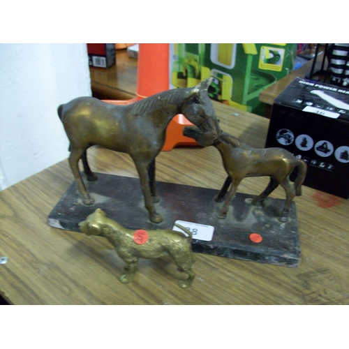 38 - Brass Horse and Foal and Dog...