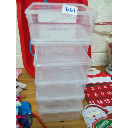 661 - 6 Plastic Containers...