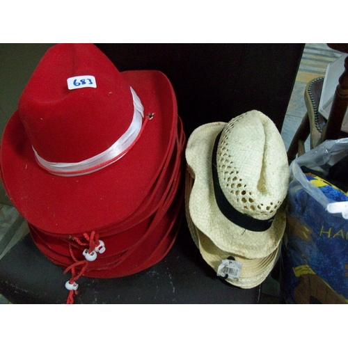683 - Lot of Straw Hats and Cowboy Hats...