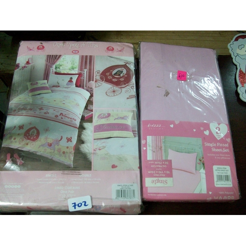 702 - Pink Lined Curtains 66 x 72 + Fitted Single Sheet and Pillow Case...