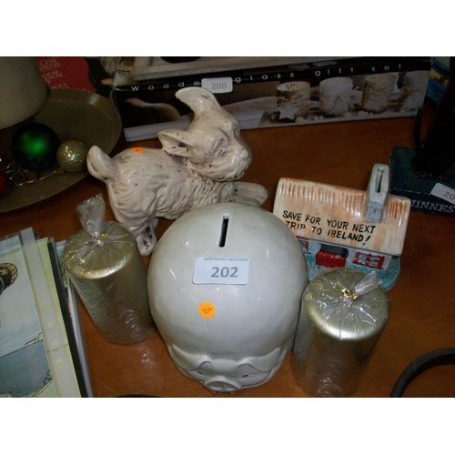 202 - Ornamental Dog,Candles and 2 Ceramic Moneyboxes...