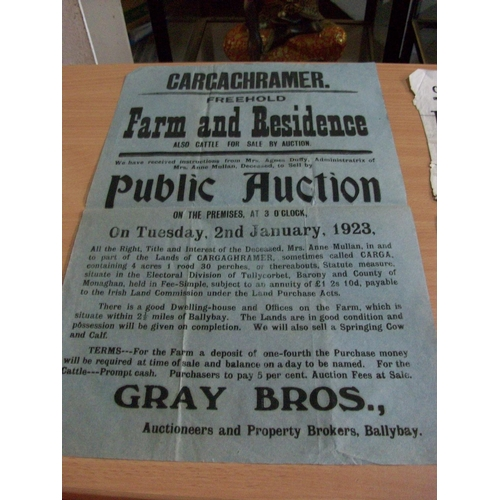 233 - Cargaghramer - Farm,Residence and Cattle Auction by Gray Brothers - 2nd Jan 1923...