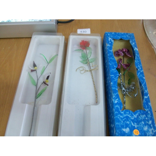 430 - 3 Boxed Glass Flower Ornaments...
