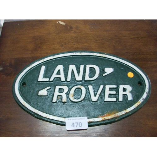 470 - Cast Iron Landrover Sign...
