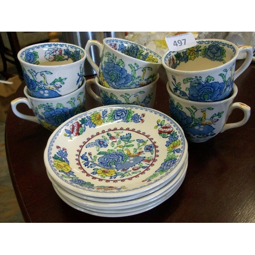 497 - Masons Regency 6 Cups and 6 Saucers (1 sd)...