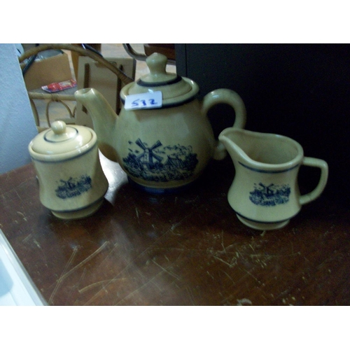532 - Collectible Dutch Teapot,Sugar Bowl & Jug...