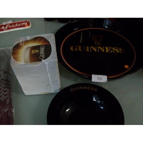 70 - Guinness Ashtray,Mats and Tray...