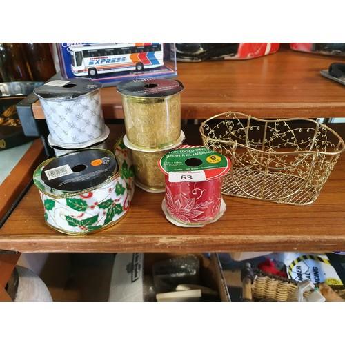 63 - 6 Spools of Xmas Ribbon & Xmas Wire Basket...