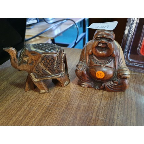 148 - Carved Buddha & Elephant...