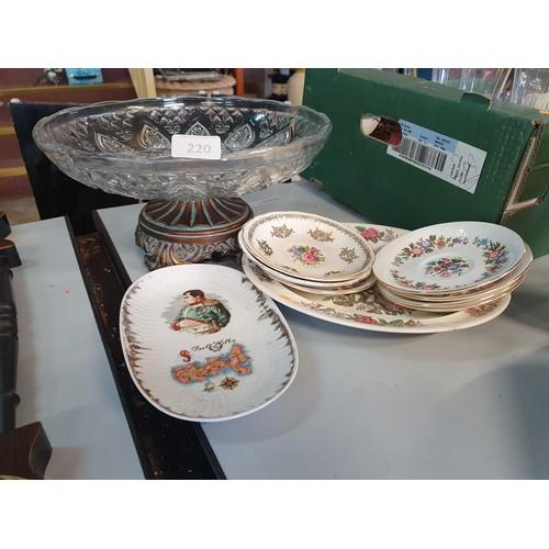 220 - Large Glass Centerpiece Bowl & China Plates...