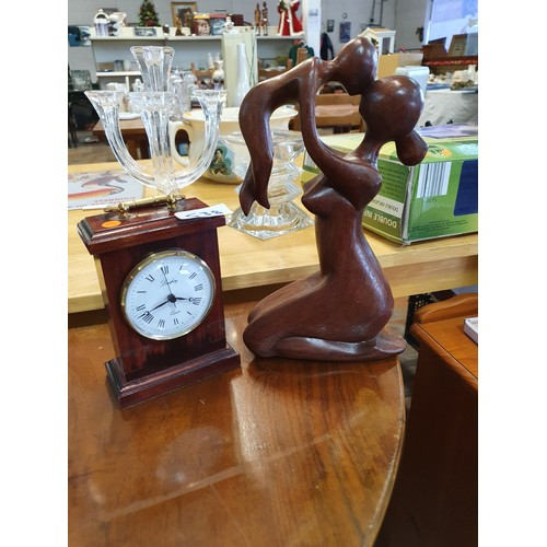 538 - Carriage Clock & 'Mother & Child' Wood Carving...