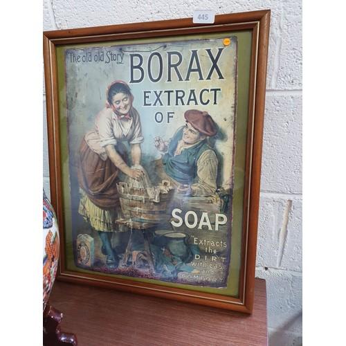 445 - Framed Borax Soap Ad Print...