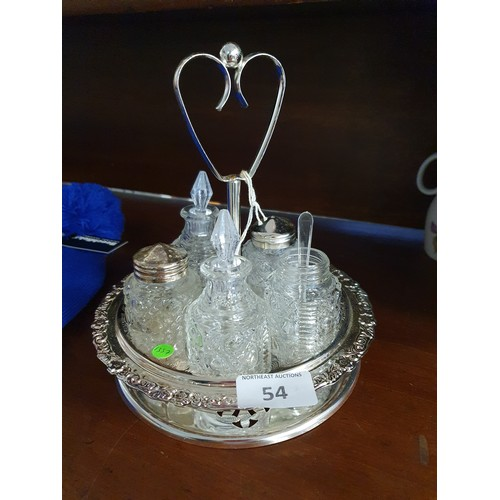 54 - Glass Condiment Set on Tray...