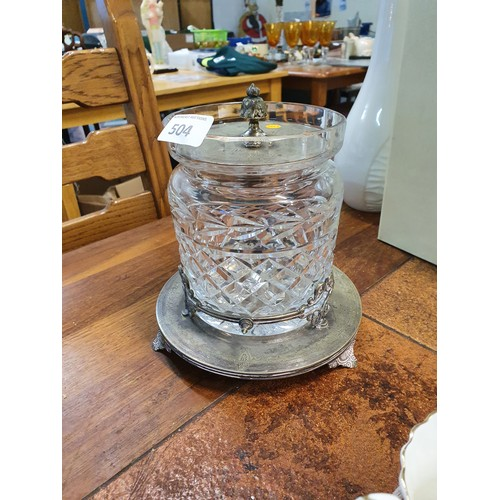 504 - Waterford Crystal Lidded Jar on Silver Plate Base...