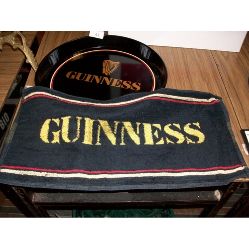 41 - Original 1980's Guinness Tray & Bar Towel...