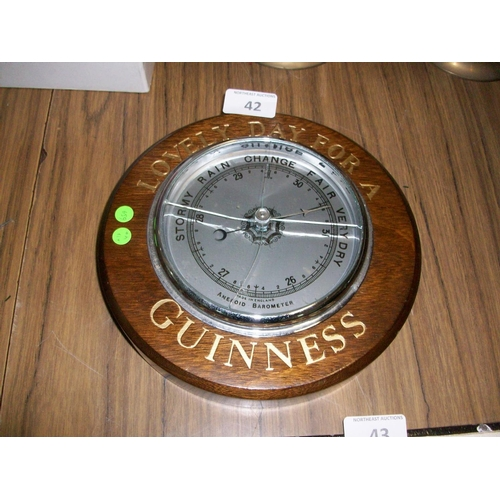 42 - Highly Collectible Guinness Barometer - Glass Needs Changed