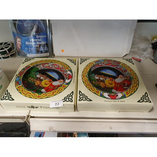 22 - 2 Irish Claddagh Collectible Xmas Plates...