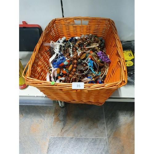 35 - Large Basket Lot of Costume Jewellery etc.....