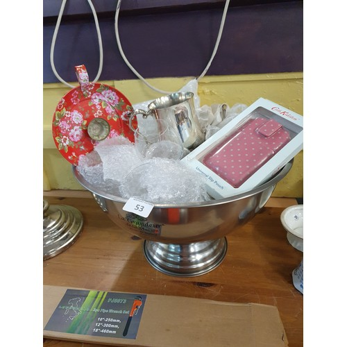 53 - Large Chrome Ice Bucket & Collectibles...