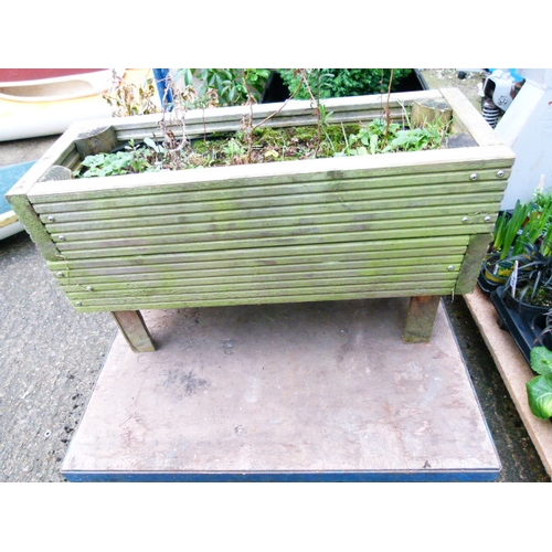 6 - Oblong Wooden Planter and contents...