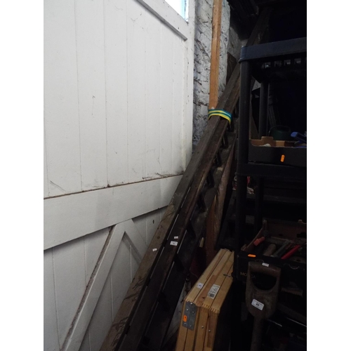 43 - Large Wooden Extending Ladder (Two 16ft Sections)...
