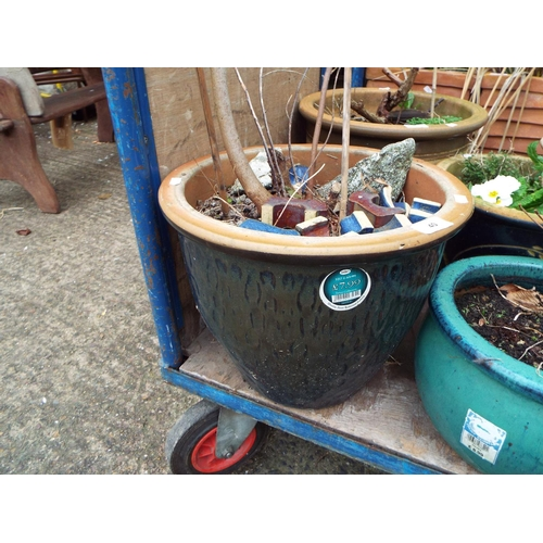 40 - Large Blue Glazed Ceramic Planter...