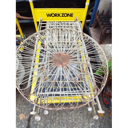29 - Round Metal Garden Table and Three Chairs...