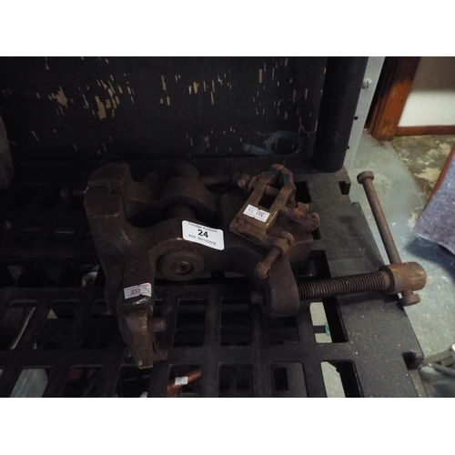 24 - Substantial Iron Bench Vice and Miniature Vice...