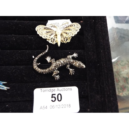50 - Two Brooches - Silver Gilt Filigree Butterfly and Marcasite Lizard...