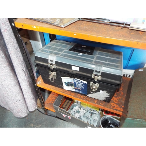 49 - Plastic toolbox with contents...