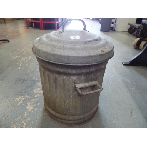 13 - Small galvanised dustbin with lid and side handles...